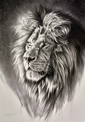Lion King by Darryn Eggleton - Original Drawing on Mounted Paper sized 23x33 inches. Available from Whitewall Galleries